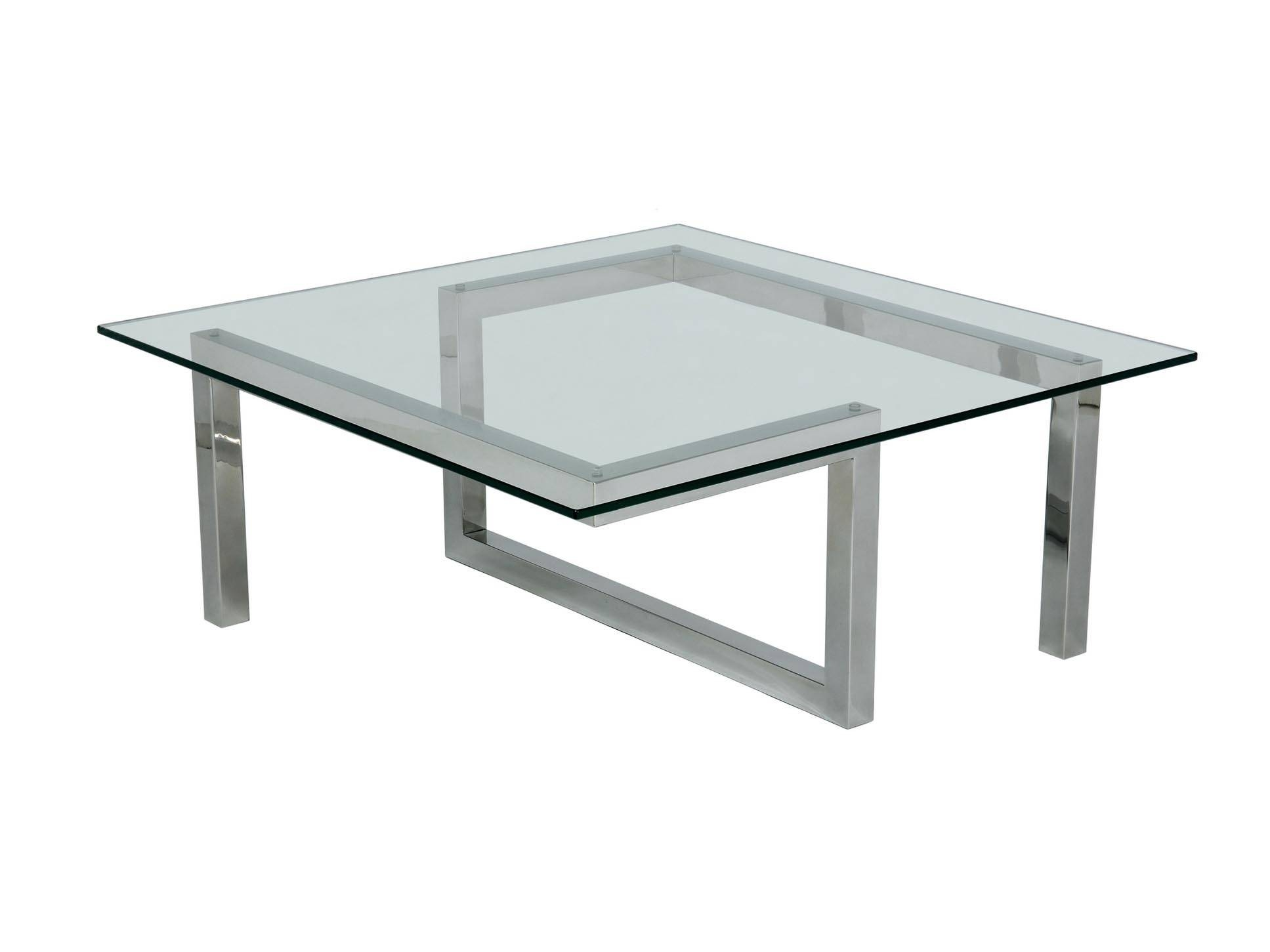 Modern Glass Coffee Table Square Shape Living Room Furniture Ideas For Square Shaped Coffee Tables (View 18 of 30)