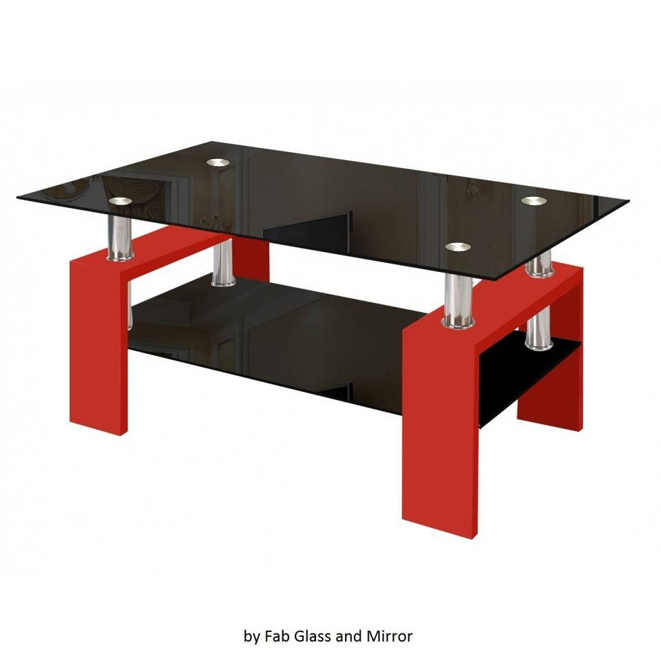 Modern Glass Red Coffee Table With Shelf Contemporary Living Room in Red Coffee Table (Image 16 of 30)
