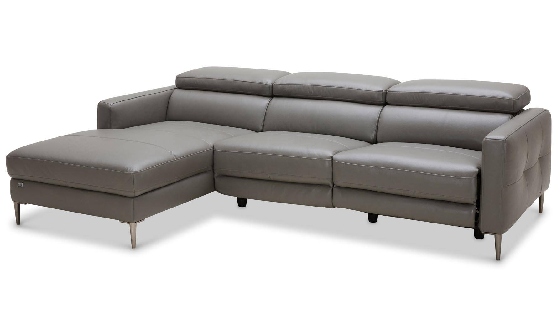Modern Grey Leather Reno Sectional With Power Recliner Seat | Zuri within Modern 3 Seater Sofas (Image 24 of 30)