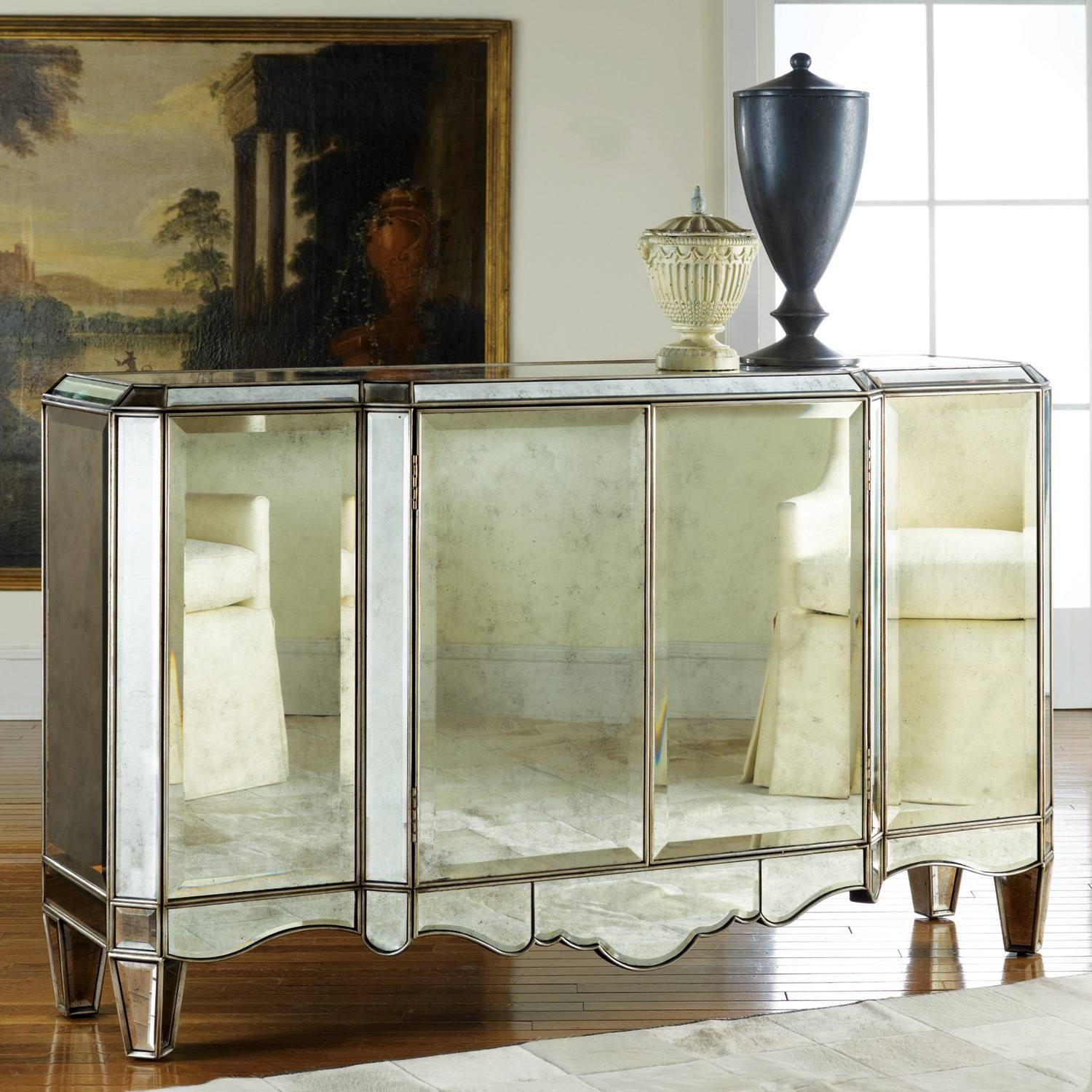 Modern History Home Mirrored Sideboard with White Mirrored Sideboards (Image 13 of 30)