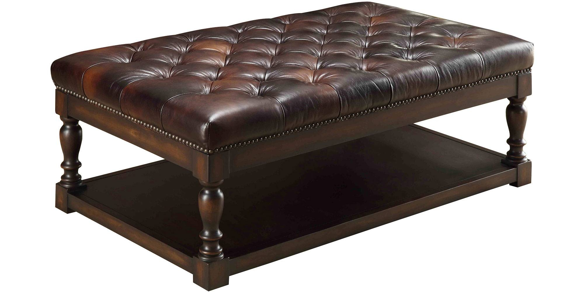 Modern Leather Ottoman Coffee Table With Shelves And Wooden Leg with regard to Coffee Tables With Shelves (Image 24 of 30)