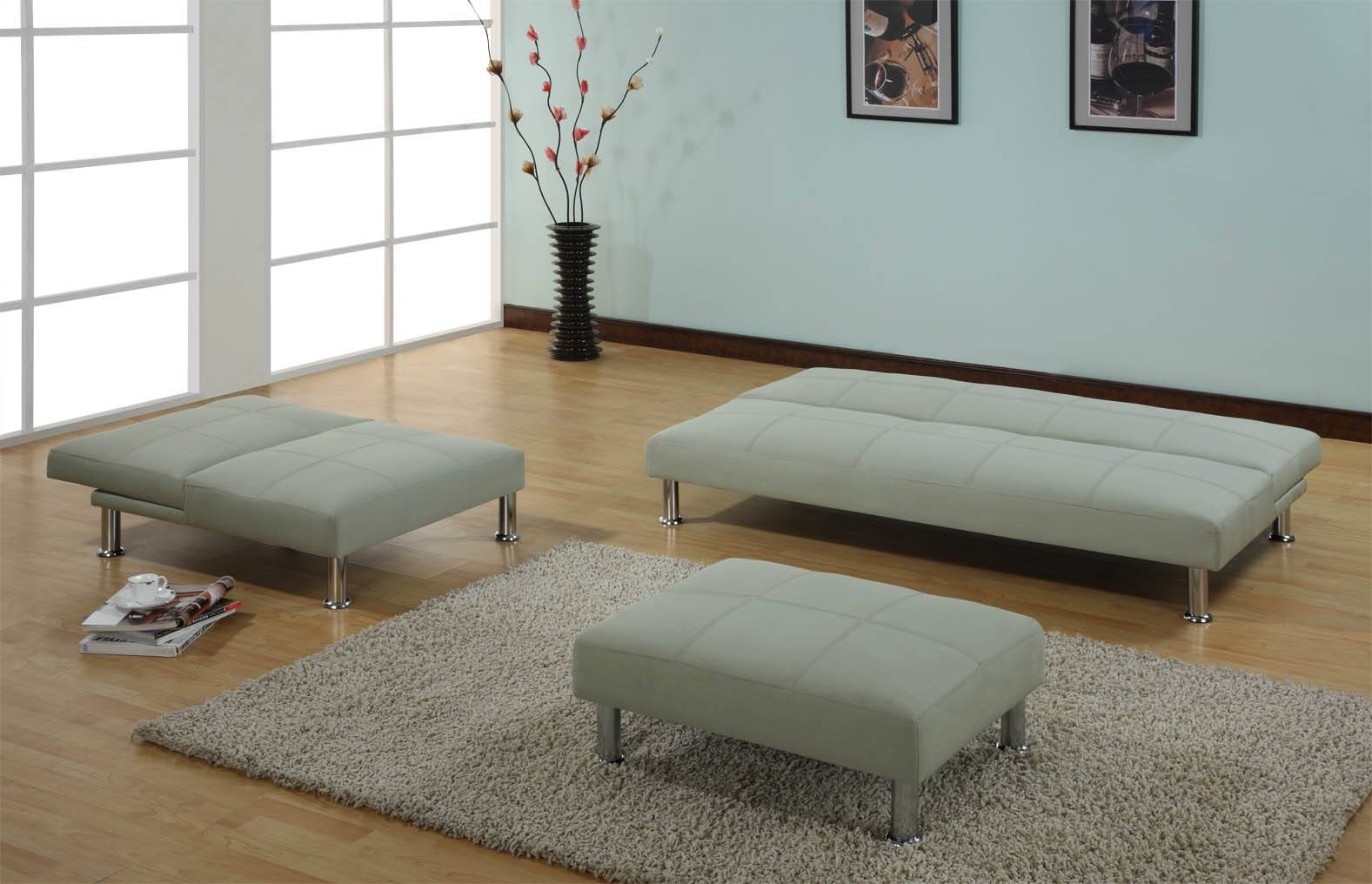 Modern Light Gray Velvet Sleeper Sofa Set With Rectangle Ottoman regarding Most Comfortable Sofabed (Image 14 of 30)