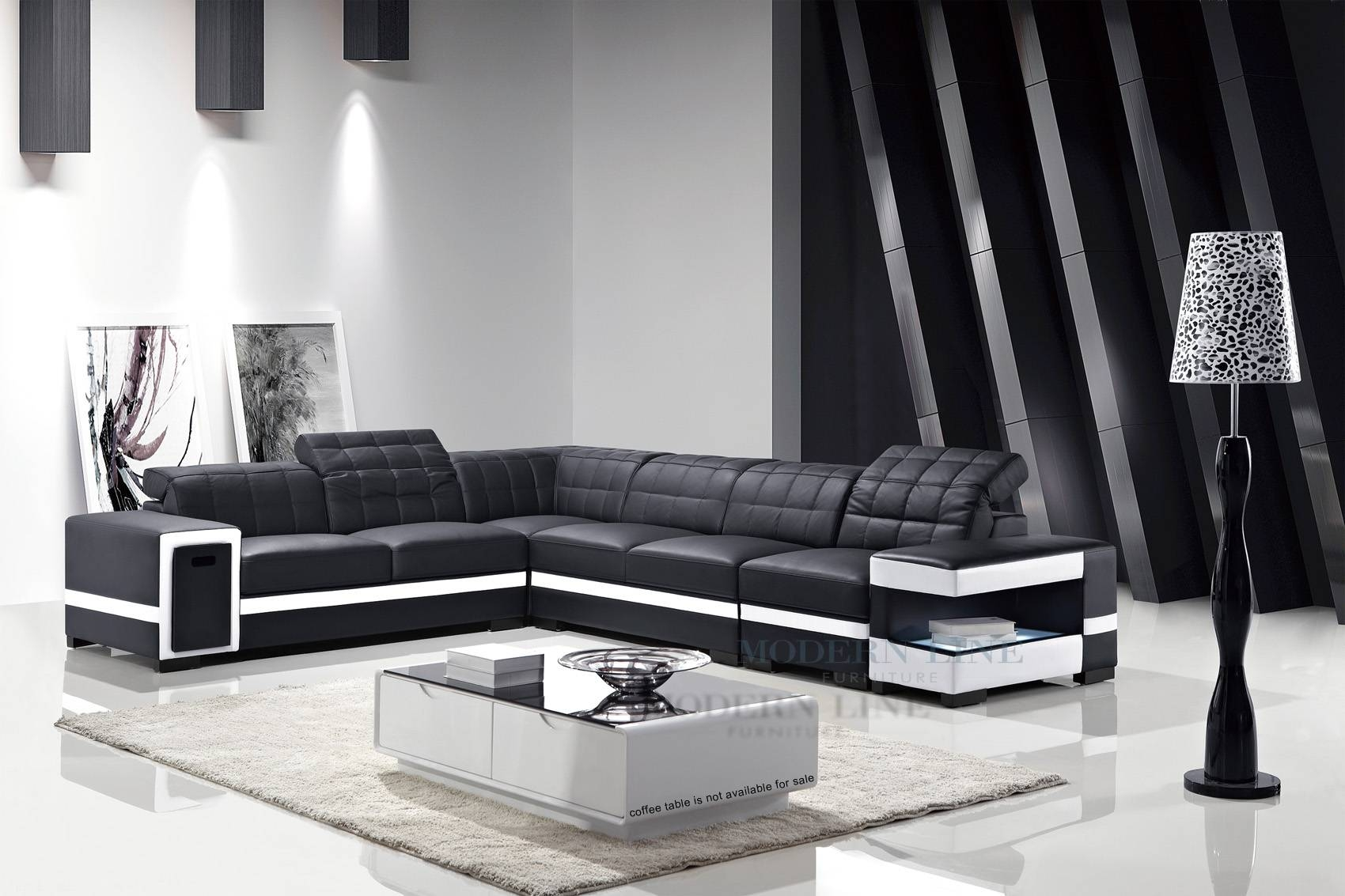2017 Popular Black and White Sectional Sofa