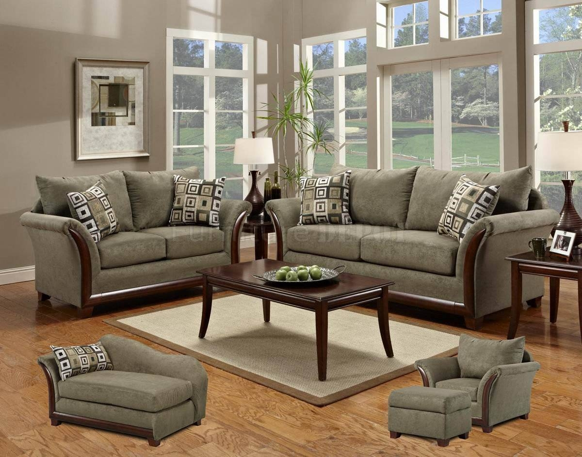 Modern Living Room With Sage Microfiber Elegant Modern Sofa regarding Sofa Loveseat and Chairs (Image 19 of 30)