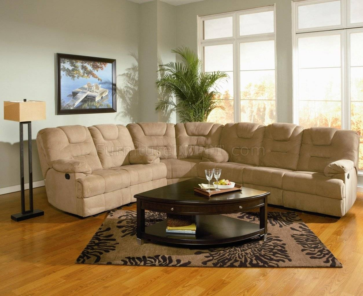 Modern Microfiber Reclining Sectional Sofa 600351 Mocha within Sofas With High Backs (Image 19 of 30)