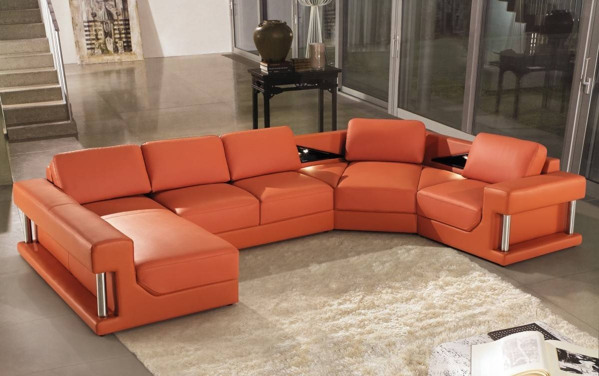 Modern Orange Leather Sectional Sofa With Regard To Orange Sectional Sofa (View 26 of 30)