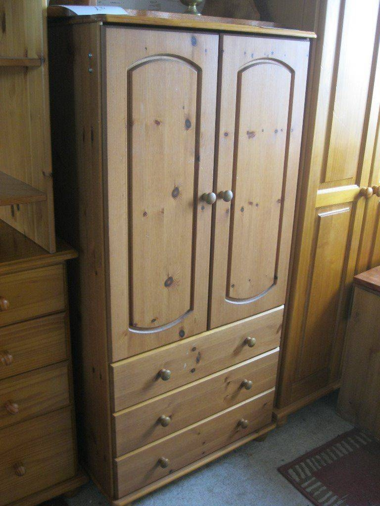Modern Ornate Pine Short Wardrobe - Tallboy. Hanging Space With 3 for Ornate Wardrobes (Image 9 of 15)