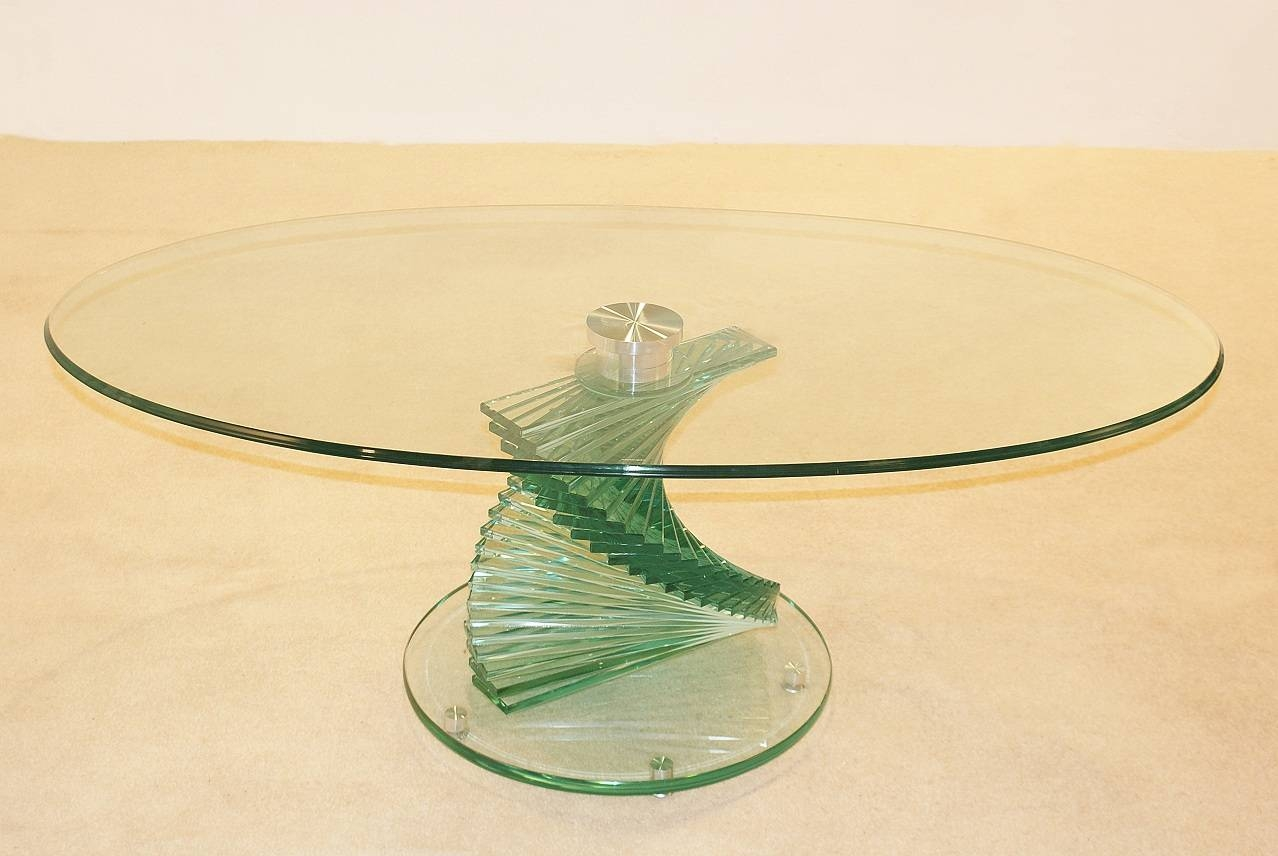 Modern Oval Glass Coffee Table : Making An Oval Glass Coffee Table pertaining to Swirl Glass Coffee Tables (Image 15 of 30)