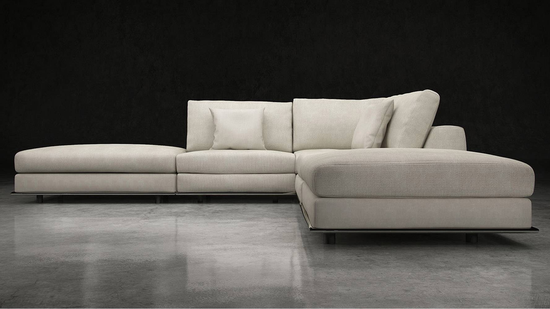 Modern Persis Armless Corner Sectional Sofa - Moonbeam | Zuri in Armless Sectional Sofa (Image 17 of 30)