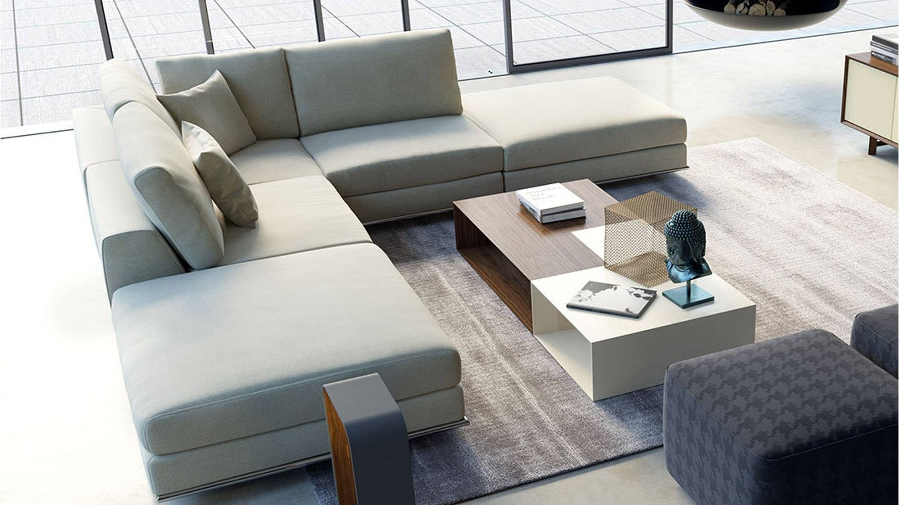 Modern Persis Armless Corner Sectional Sofa   Moonbeam | Zuri With Regard To Armless Sectional Sofas (Photo 20 of 30)