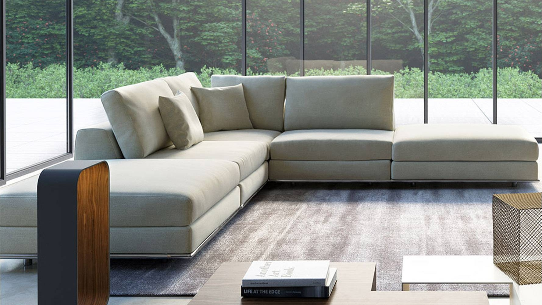 Modern Persis Armless Corner Sectional Sofa - Moonbeam | Zuri within Armless Sectional Sofas (Image 17 of 30)