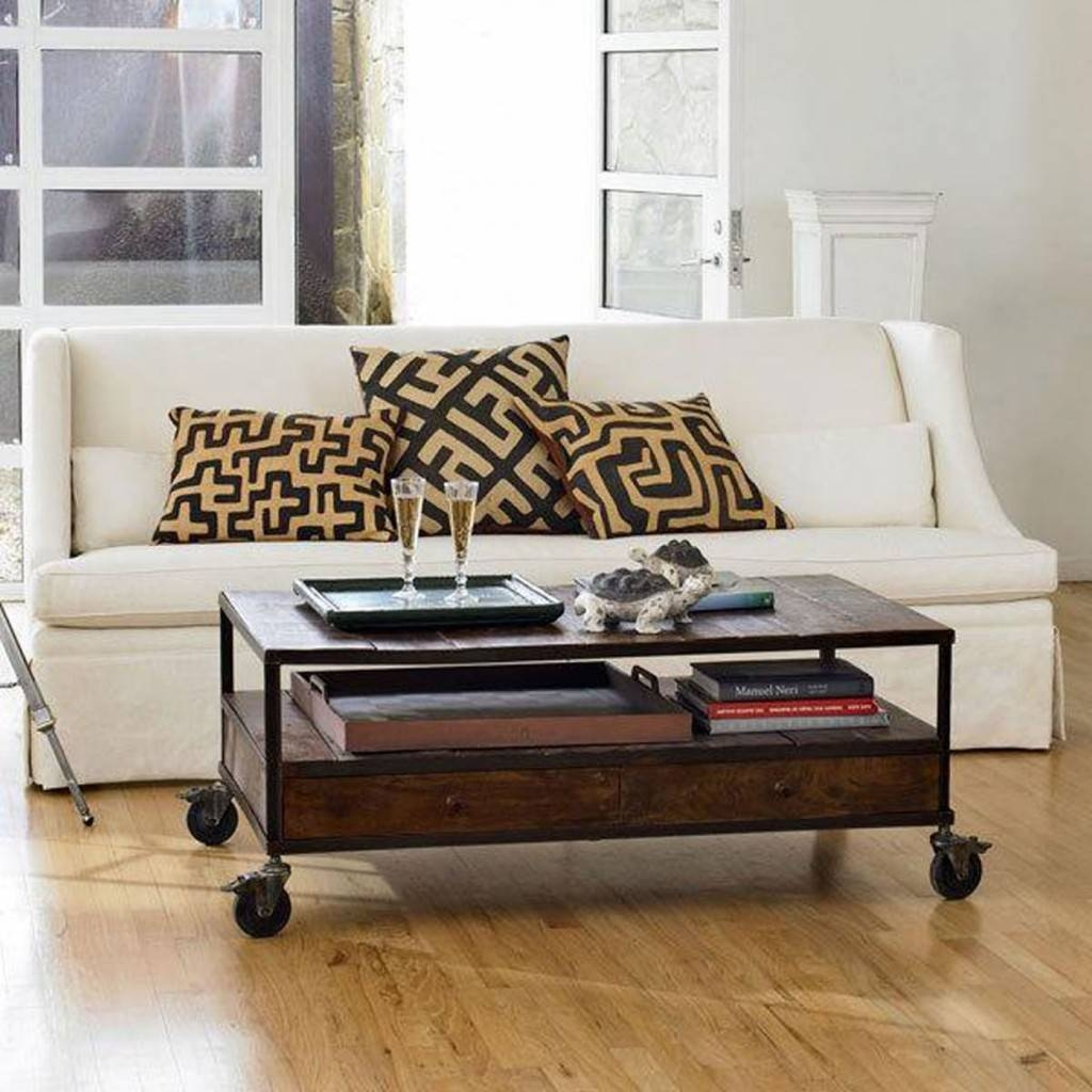 Modern Rectangle Chocolate Wood Iron Industrial Coffee Table Iron inside Wheels Coffee Tables (Image 18 of 30)