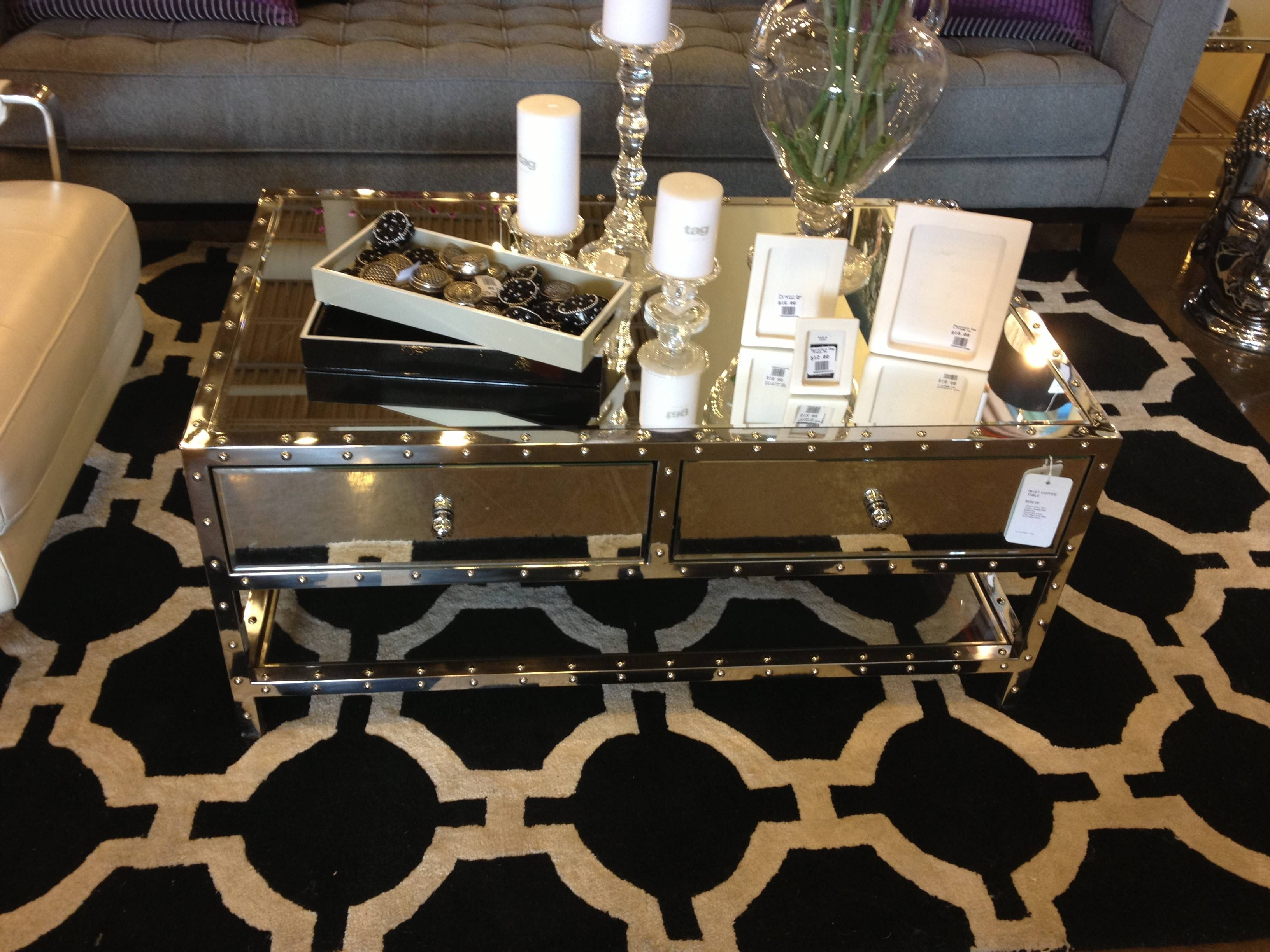 Modern Rectangle Mirrored Coffee Table With Glass Top Double for Oval Mirrored Coffee Tables (Image 21 of 30)