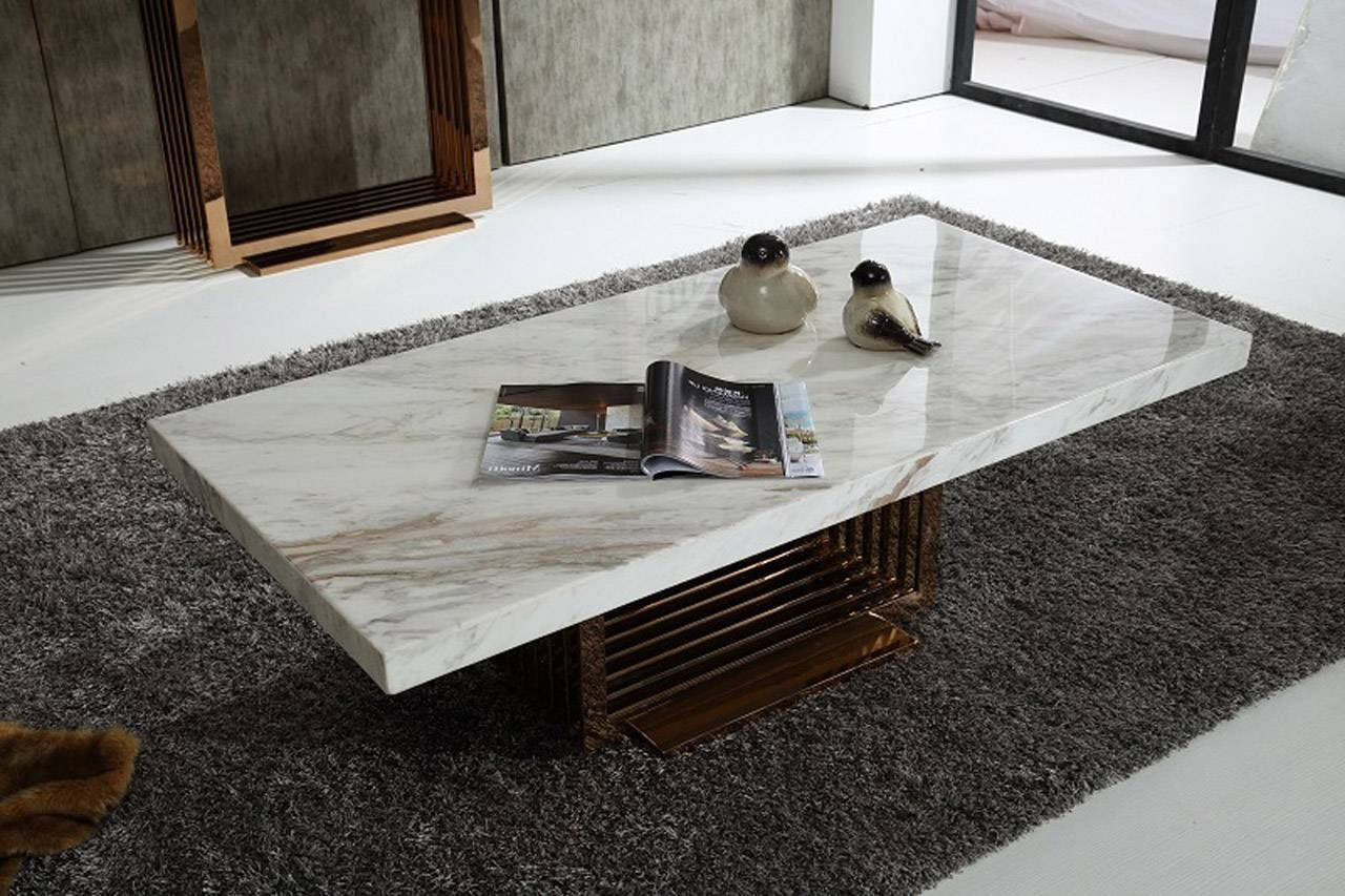 Modern Rectangle White Marble Coffee Table - Chocoaddicts with White Marble Coffee Tables (Image 25 of 30)