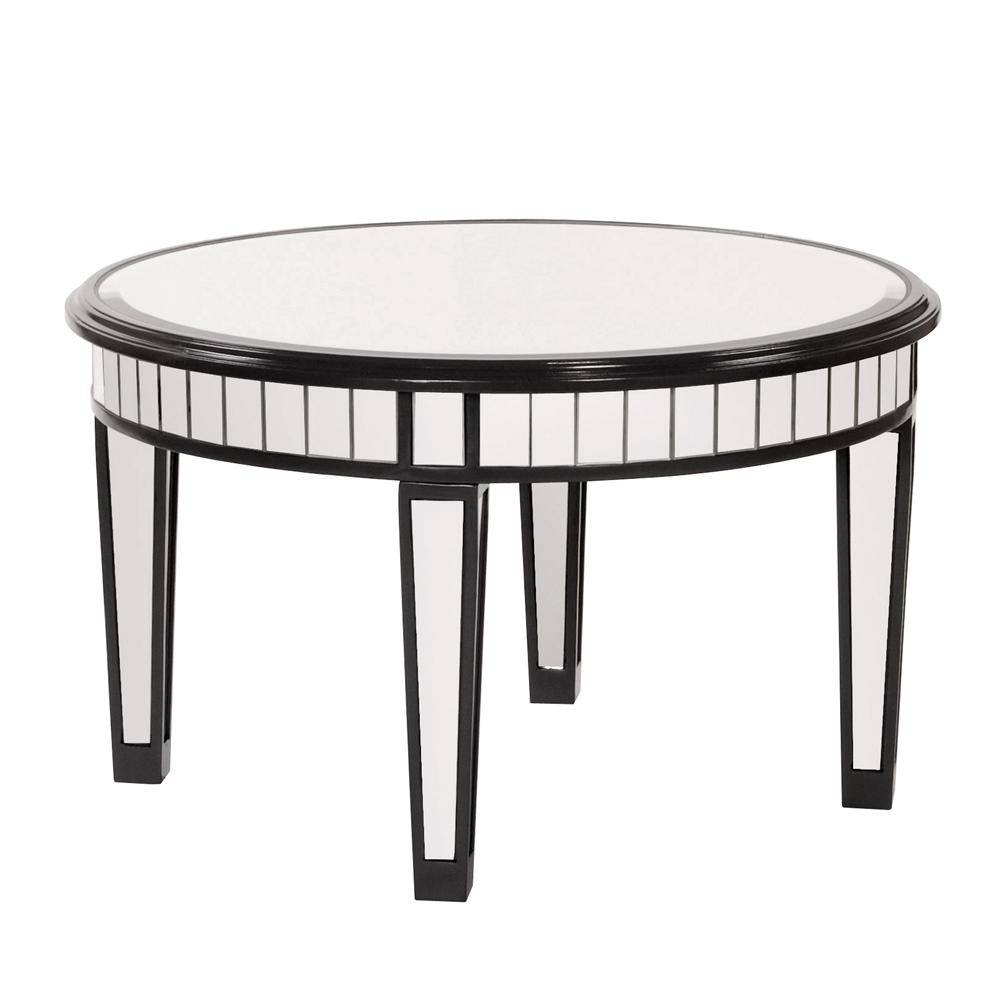 Modern Round Mirrored Coffee Table With Black Wooden Frame And with regard to Small Mirrored Coffee Tables (Image 24 of 30)