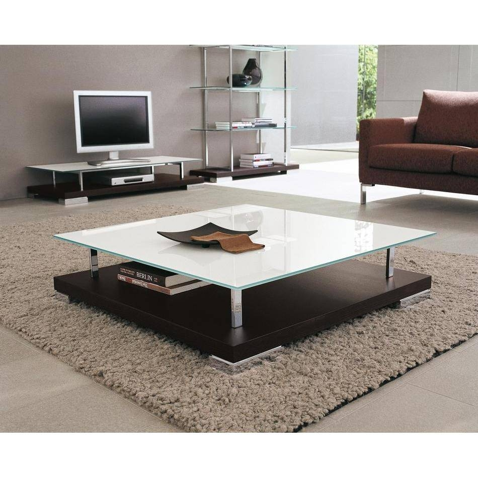 Modern Square Coffee Table Glass Steel : Modern Square Coffee In Large Low Wood Coffee Tables (View 21 of 30)