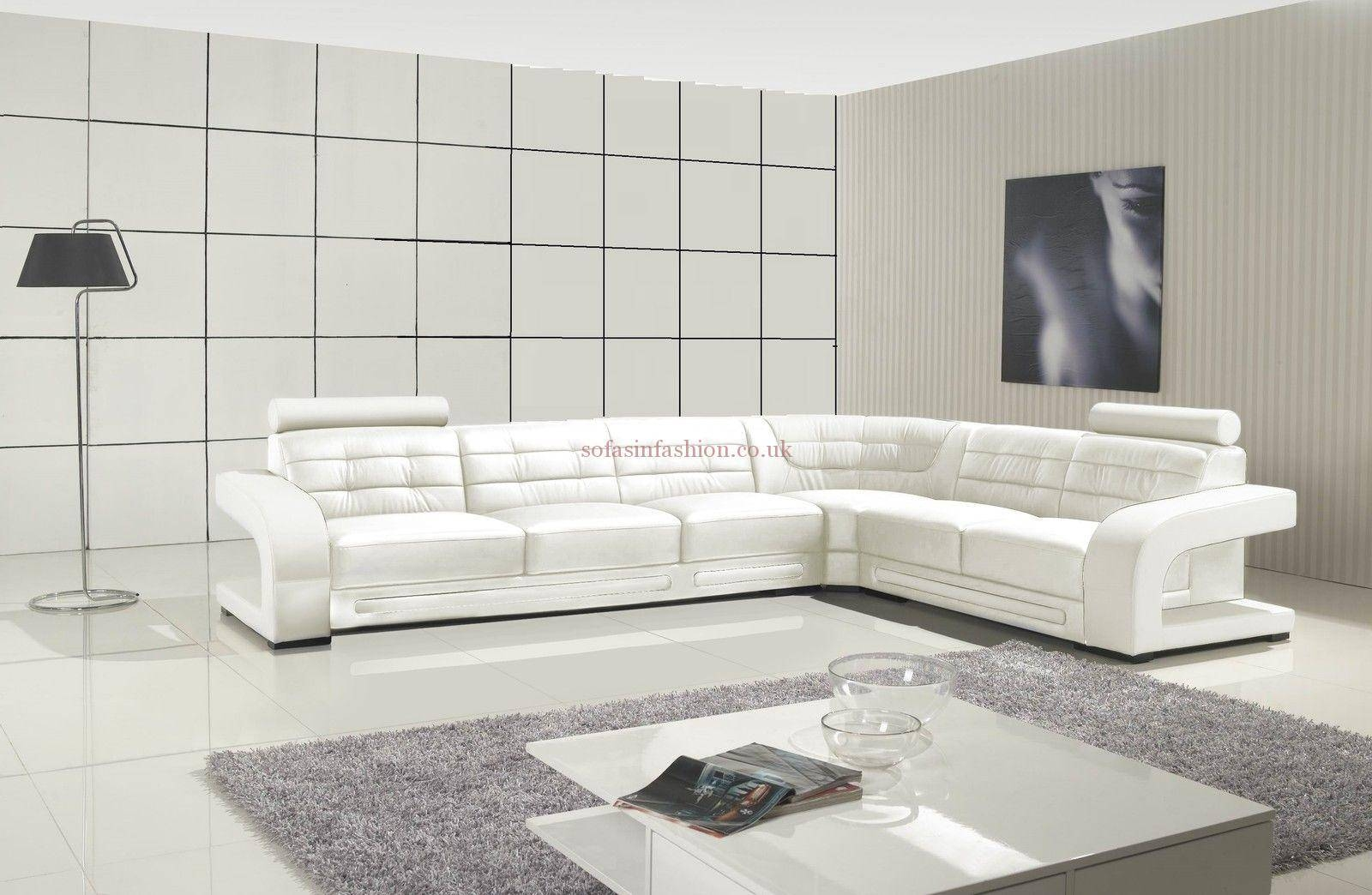 Modern Style White Corner Sofa With Leather Corner Sofa Black intended for White Leather Corner Sofa (Image 16 of 30)