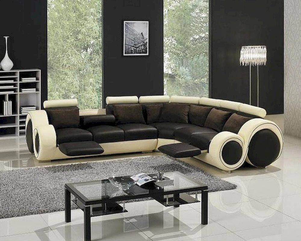 Modern Two Tone Leather Sectional Sofa Set With Recliners 44Lt27C intended for Two Tone Sofas (Image 20 of 30)
