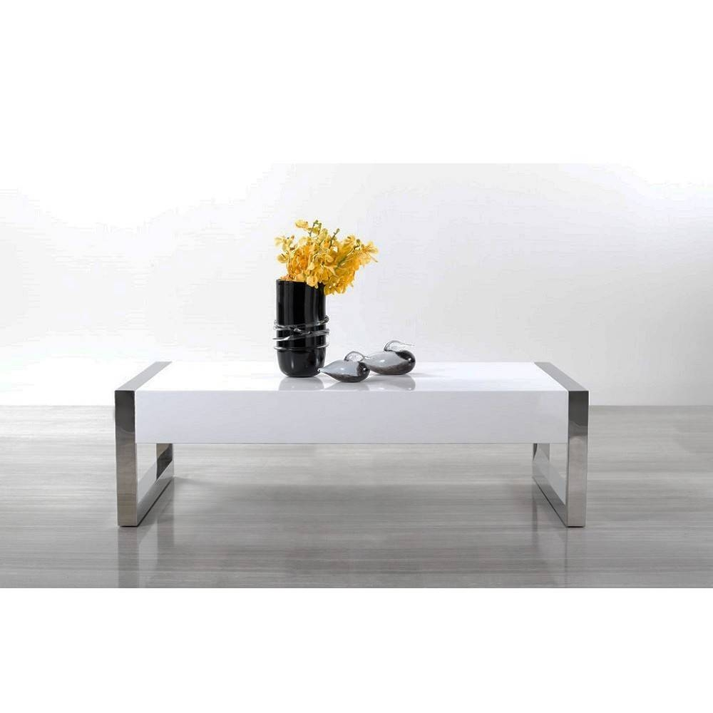 Modern White / Chrome Coffee Table 115a, J&m Furniture – Modern Regarding Chrome Coffee Tables (View 10 of 30)