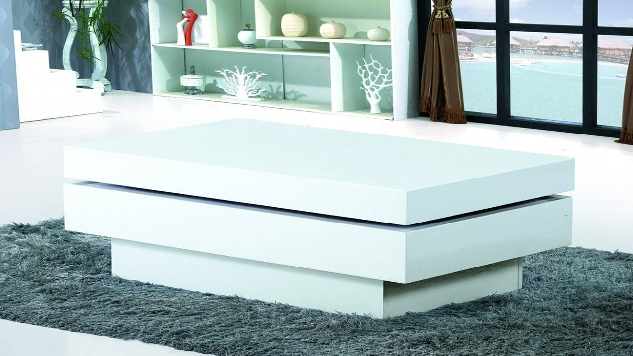 Modern White Gloss Coffee Table - Homegenies with regard to White High Gloss Coffee Tables (Image 21 of 30)