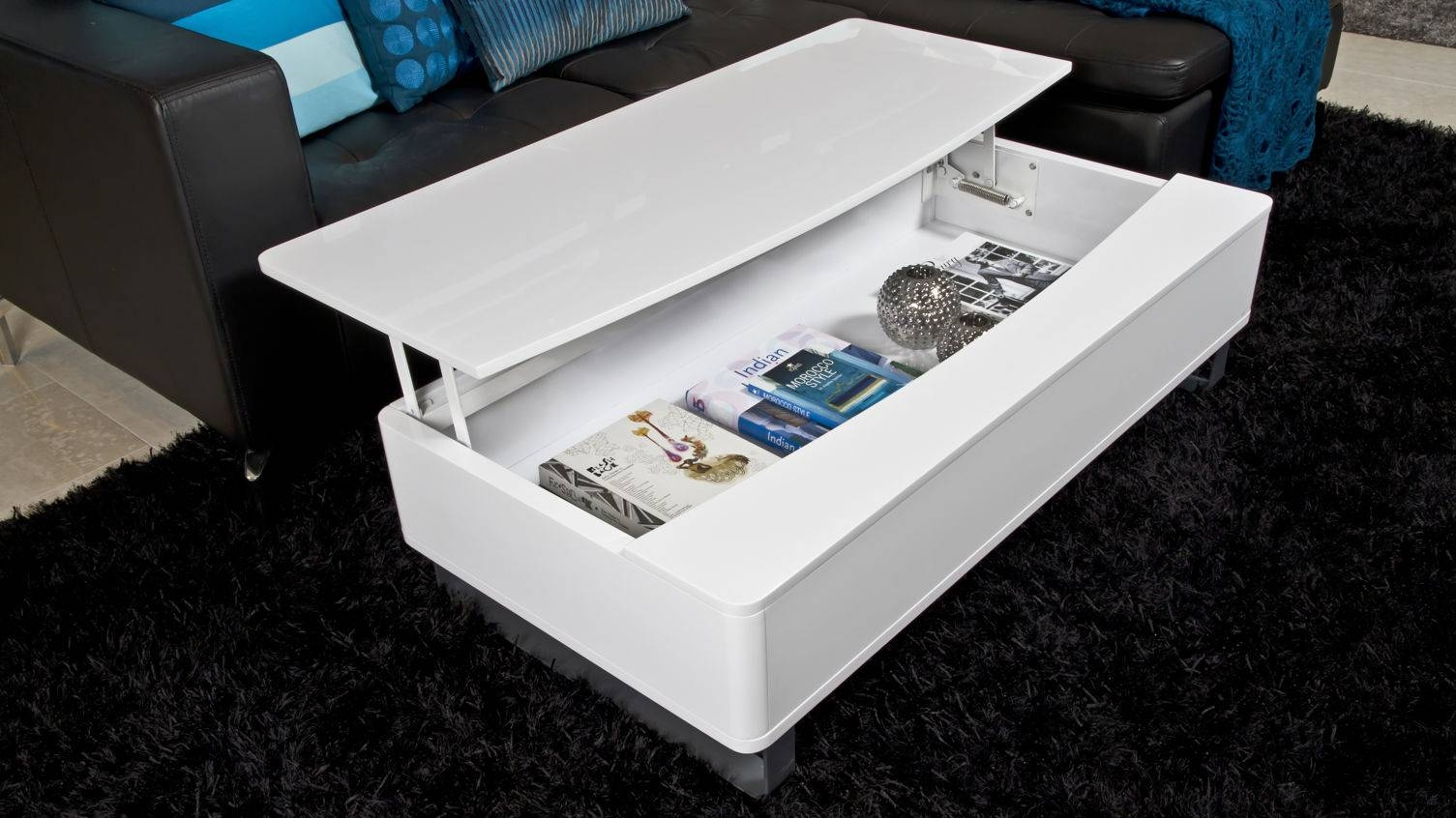 Modern White Gloss Coffee Table With Large Storage Space White within High Gloss Coffee Tables (Image 22 of 30)