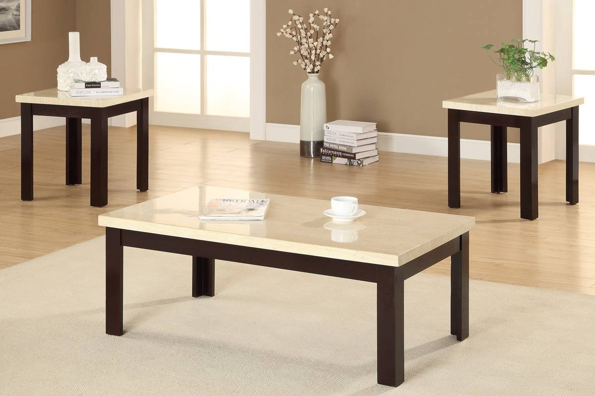 Modern White Granite Top Coffee Table With Brown Painted Oak Wood within White and Brown Coffee Tables (Image 26 of 30)