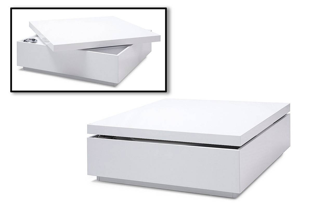Modern White Lacquer Swivel Coffee Table With Storage Inside White Coffee Tables With Storage (View 4 of 30)