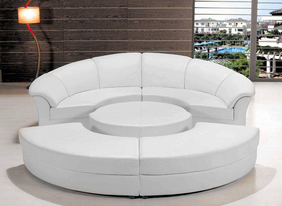 Modern White Leather Circular Sectional Sofa Pertaining To Circle Sofa Chairs (View 17 of 30)
