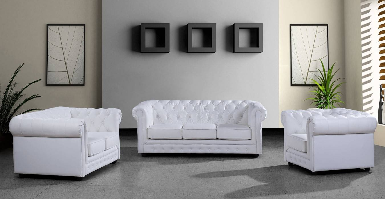 Modern White Leather Sofa Set within White Leather Sofas (Image 16 of 30)