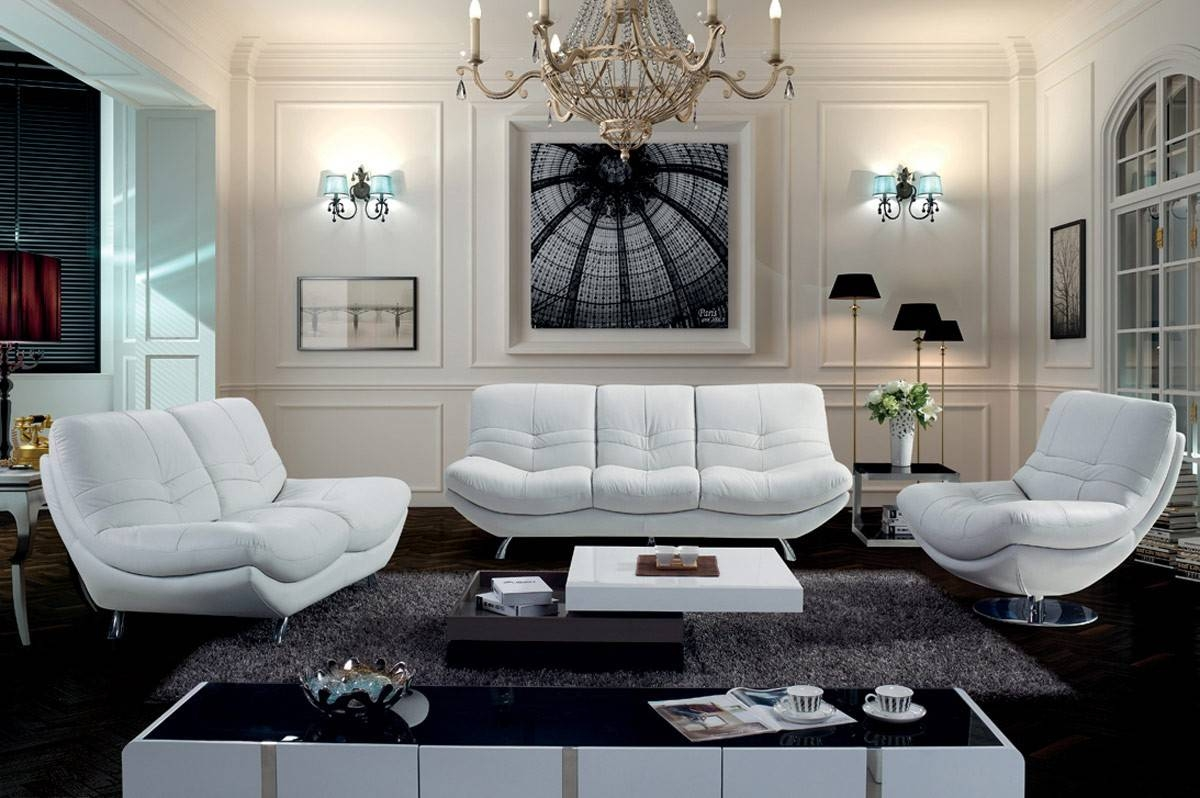 Modern White Rounded Leather Sofa Set intended for Rounded Sofa (Image 16 of 25)