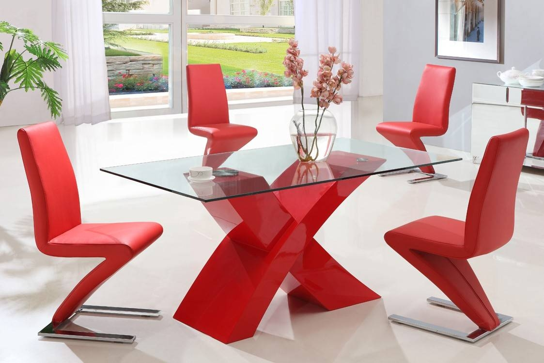 Modern X Clear Glass Dining Table With High Gloss Red Base Only throughout Red Gloss Coffee Tables (Image 19 of 30)
