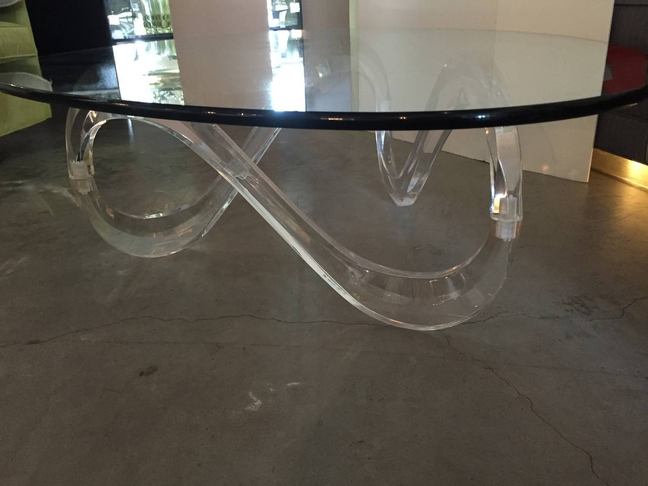 Modernist Sculptural Lucite Base And Glass-Top Coffee Table For in Swirl Glass Coffee Tables (Image 16 of 30)