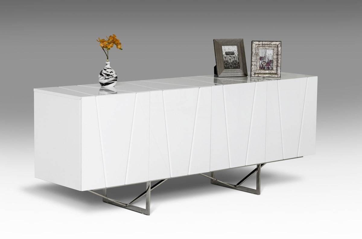 Modrest Chrysler Modern White High Gloss Buffet - Buffets - Dining for Black Gloss Buffet Sideboards (Image 15 of 30)