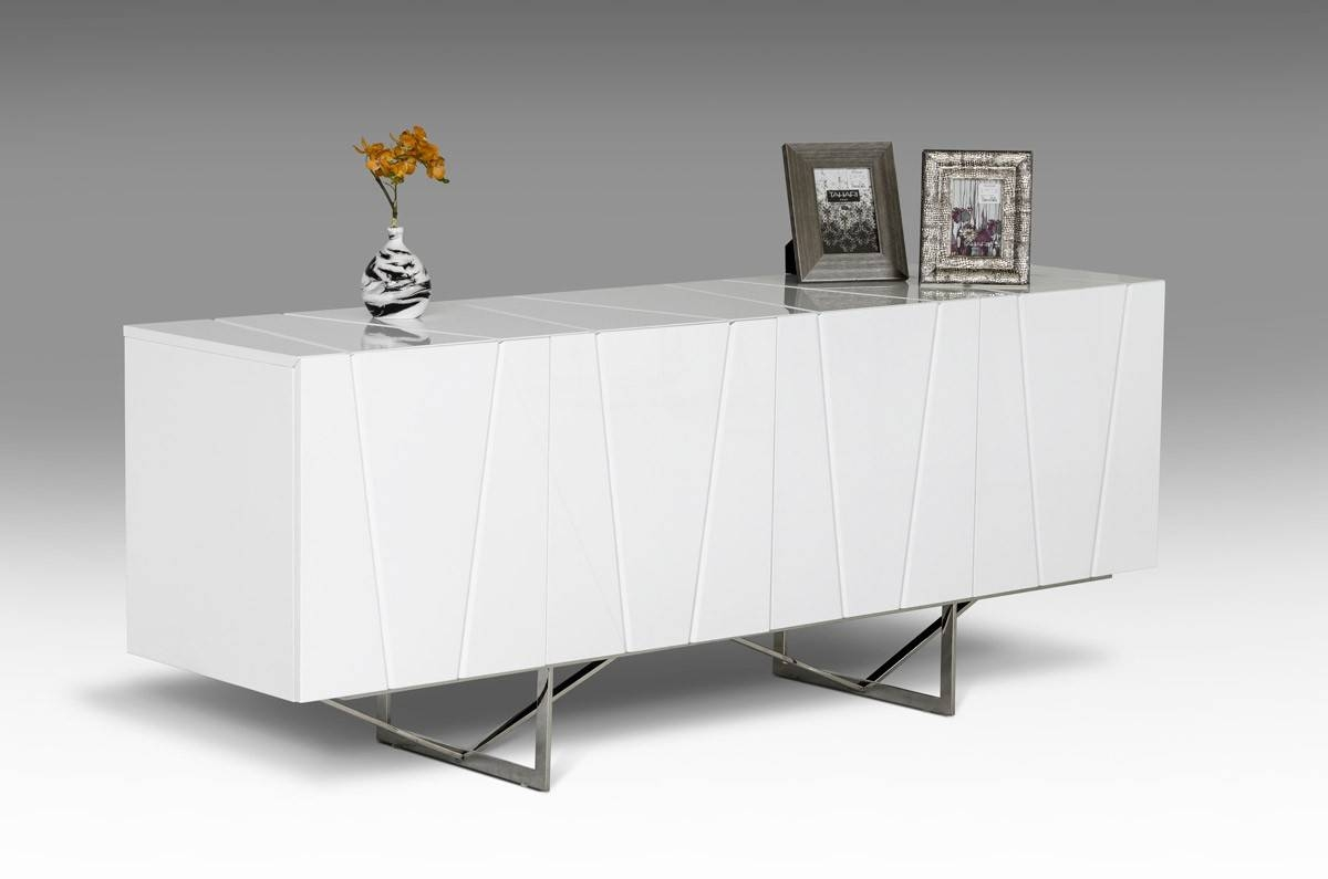 Modrest Chrysler Modern White High Gloss Buffet - Buffets - Dining pertaining to White Modern Sideboards (Image 15 of 30)