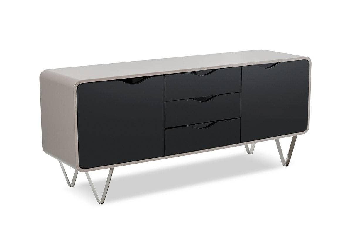 Modrest G8988 Modern Taupe And Black Gloss Buffet - Italmoda for Black Gloss Buffet Sideboards (Image 17 of 30)