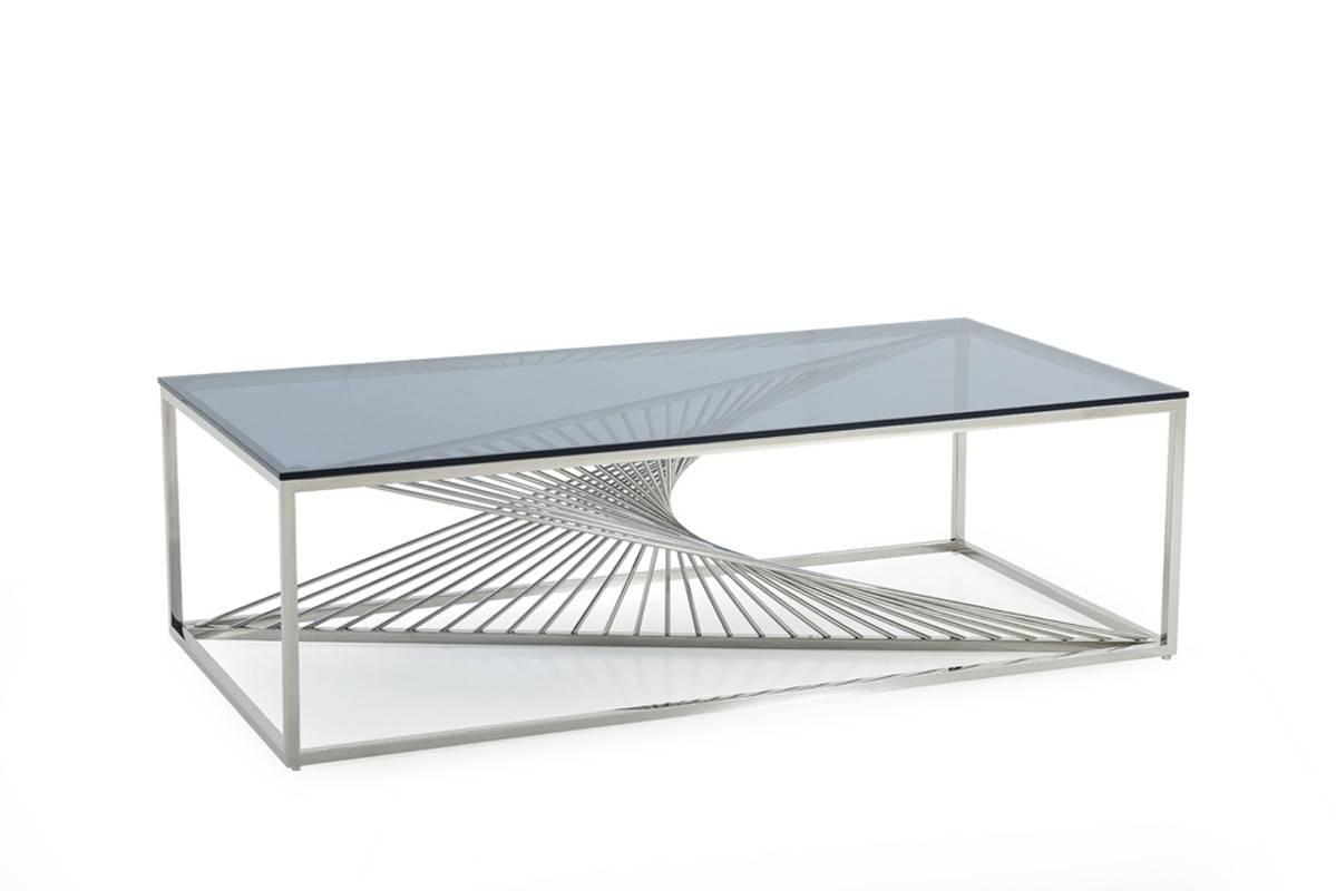 Modrest Trinity Modern Glass & Stainless Steel Coffee Table with Glass Steel Coffee Tables (Image 25 of 30)