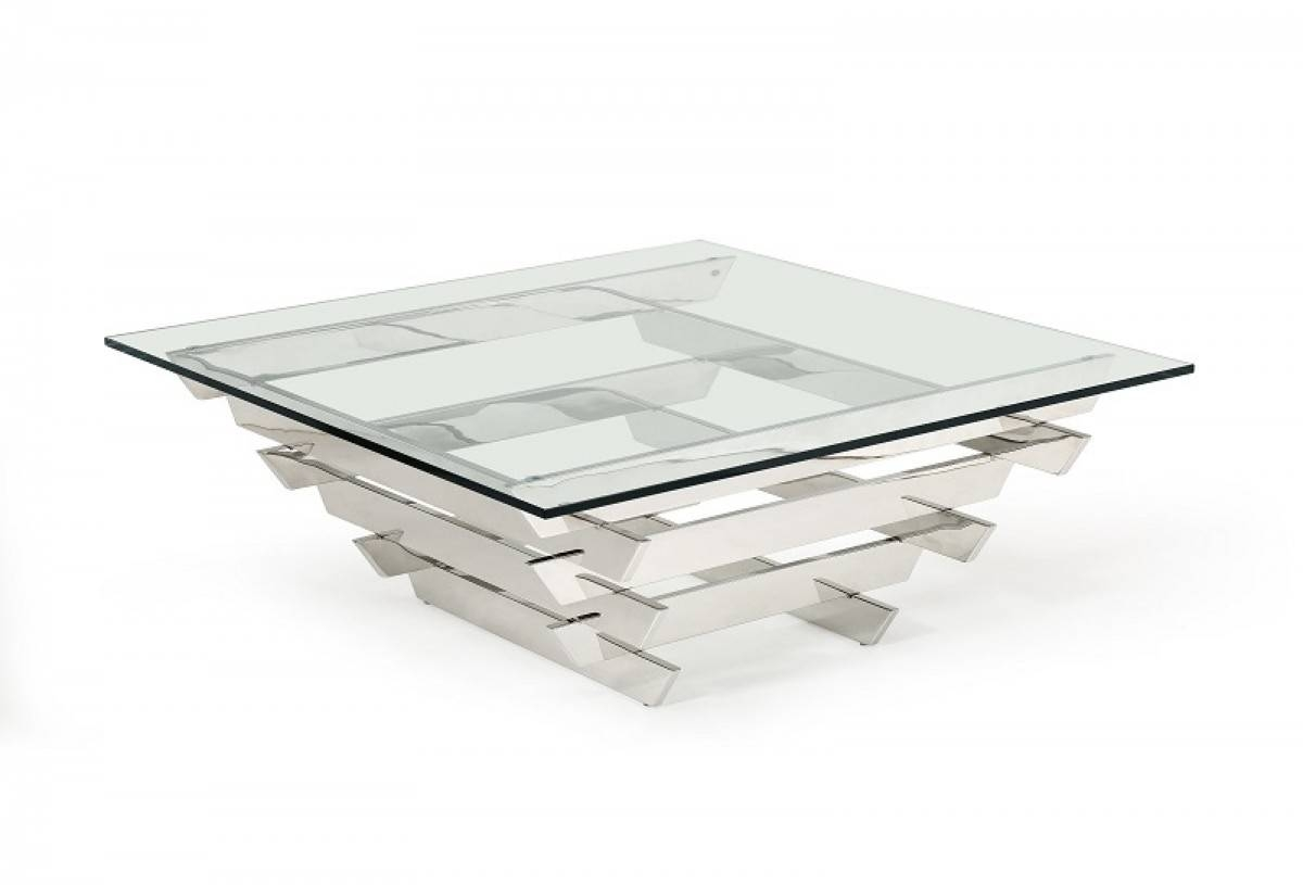 Modrest Upton Modern Square Glass Coffee Table - Coffee Tables throughout Contemporary Glass Coffee Tables (Image 29 of 30)