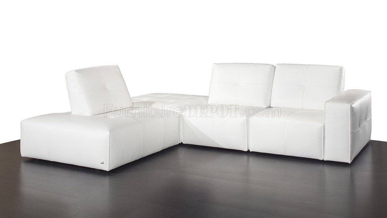 Modular Sectional Sofa In White Premium Leatherj&m regarding Leather Modular Sectional Sofas (Image 22 of 30)
