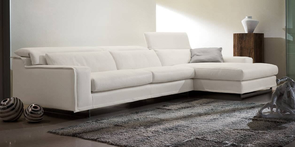Modular Sofa / Contemporary / Leather / 3-Seater - Blues - Gamma with White Leather Corner Sofa (Image 17 of 30)