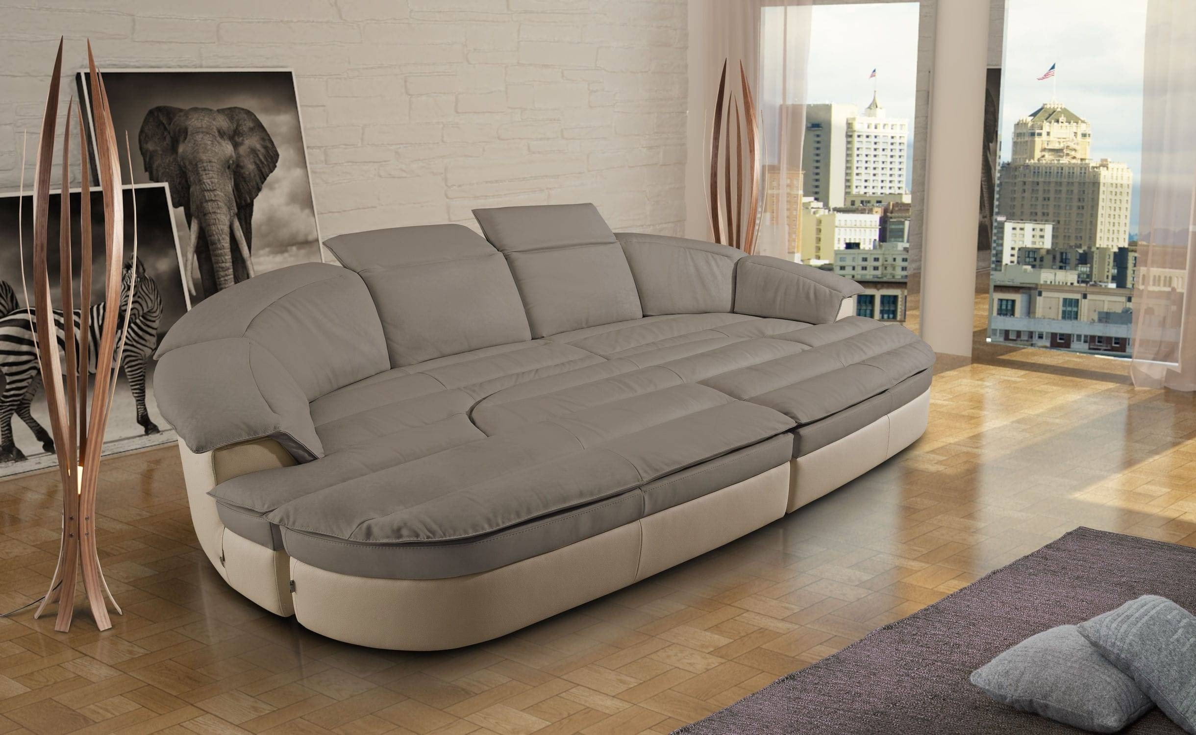 Modular Sofa / Semicircular / Contemporary / Leather - Galaxy pertaining to Semicircular Sofa (Image 7 of 30)