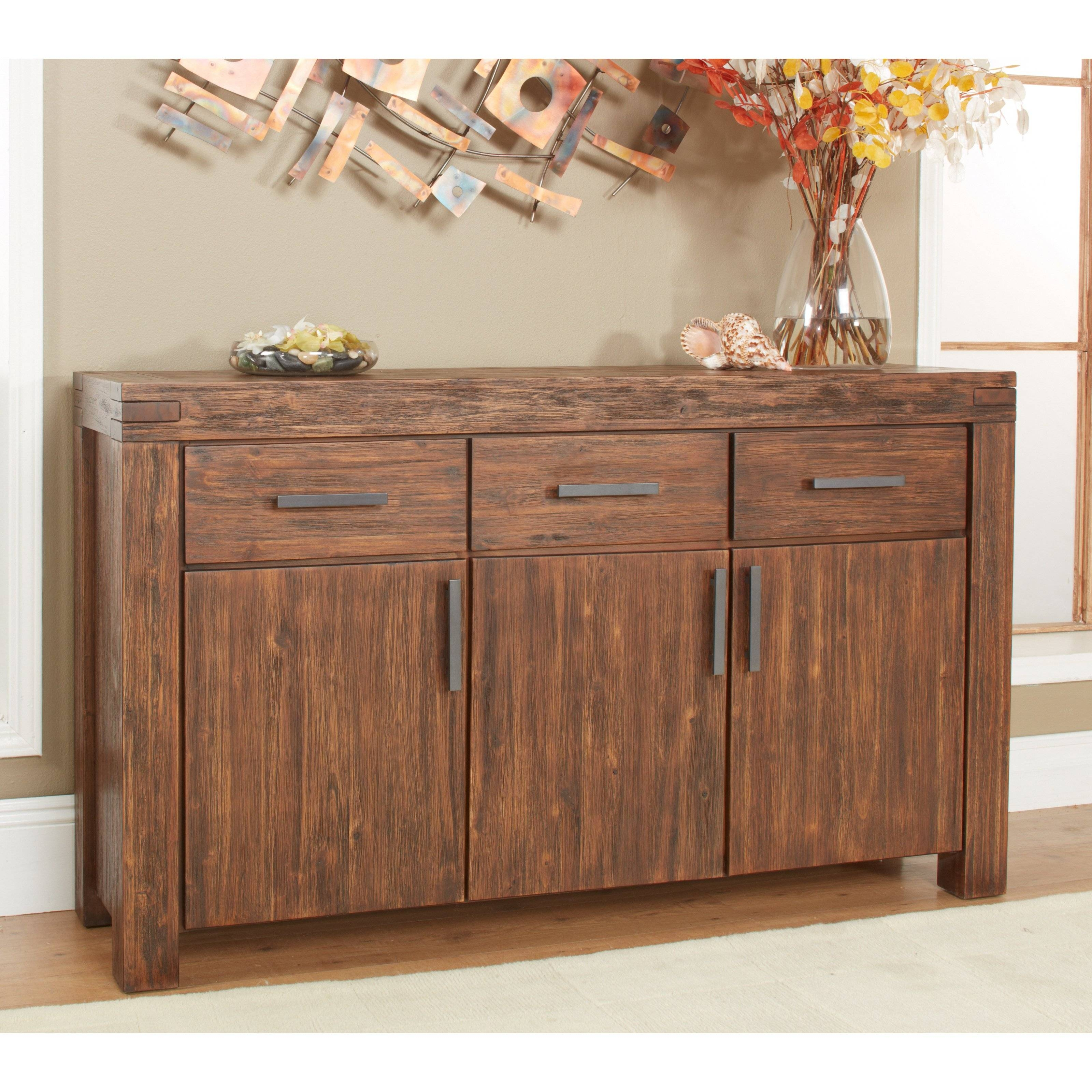 Modus Meadow 3-Door 3 Drawer Solid Wood Sideboard - Brick Brown pertaining to Amazon Furniture Sideboards (Image 18 of 30)