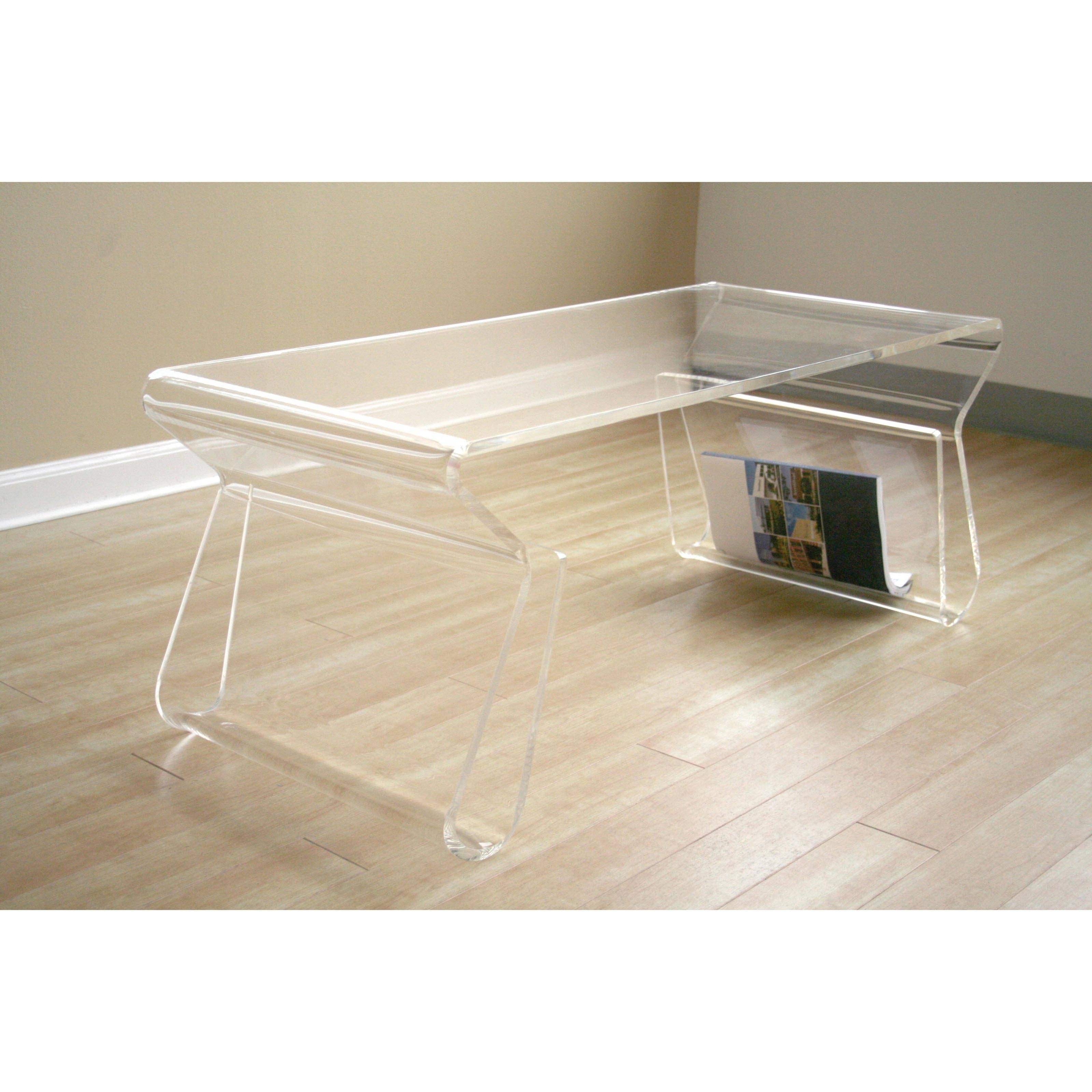 Modway Rectangle Clear Acrylic Coffee Table With Magazine Holder in Acrylic Coffee Tables With Magazine Rack (Image 23 of 30)