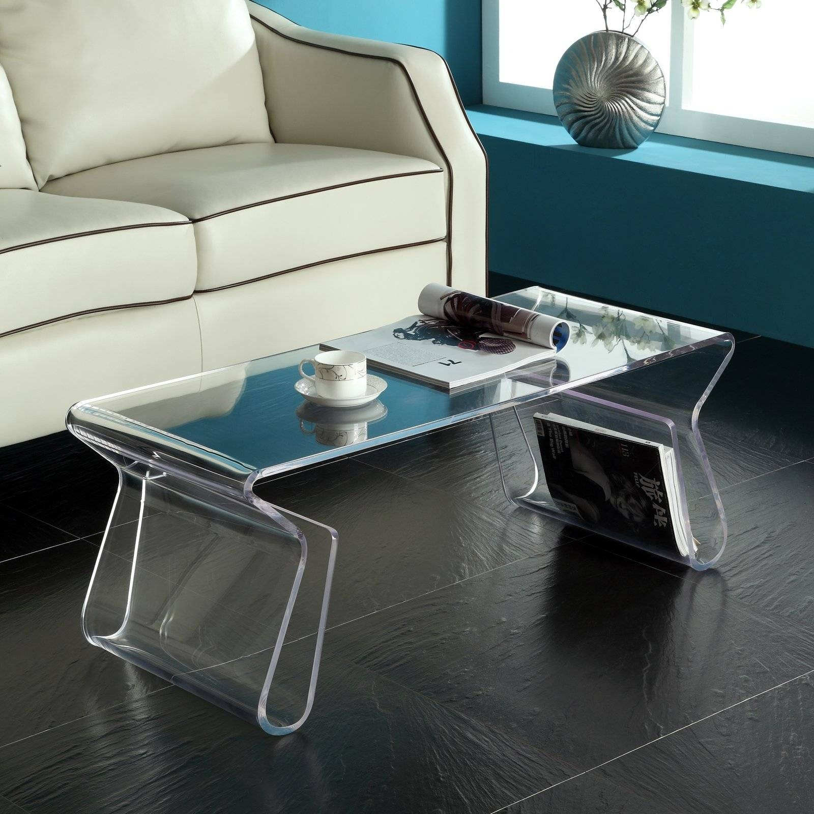 Modway Rectangle Clear Acrylic Coffee Table With Magazine Holder regarding Acrylic Coffee Tables With Magazine Rack (Image 25 of 30)