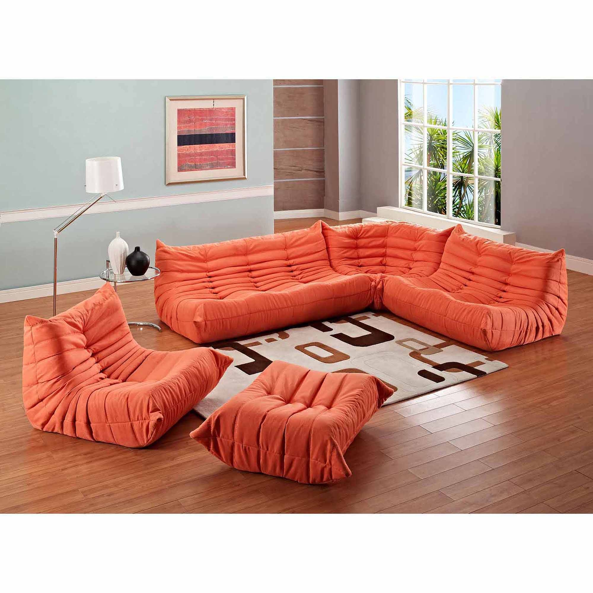 Modway Waverunner Modular Sectional Sofa Set (5 Piece) – Walmart Intended For Orange Sectional Sofa (View 27 of 30)