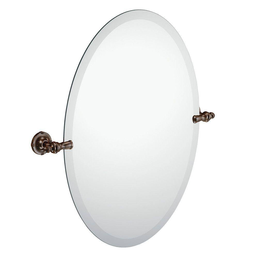 Moen Gilcrest 26 In. X 23 In. Frameless Pivoting Wall Mirror In with Black Oval Wall Mirrors (Image 9 of 25)