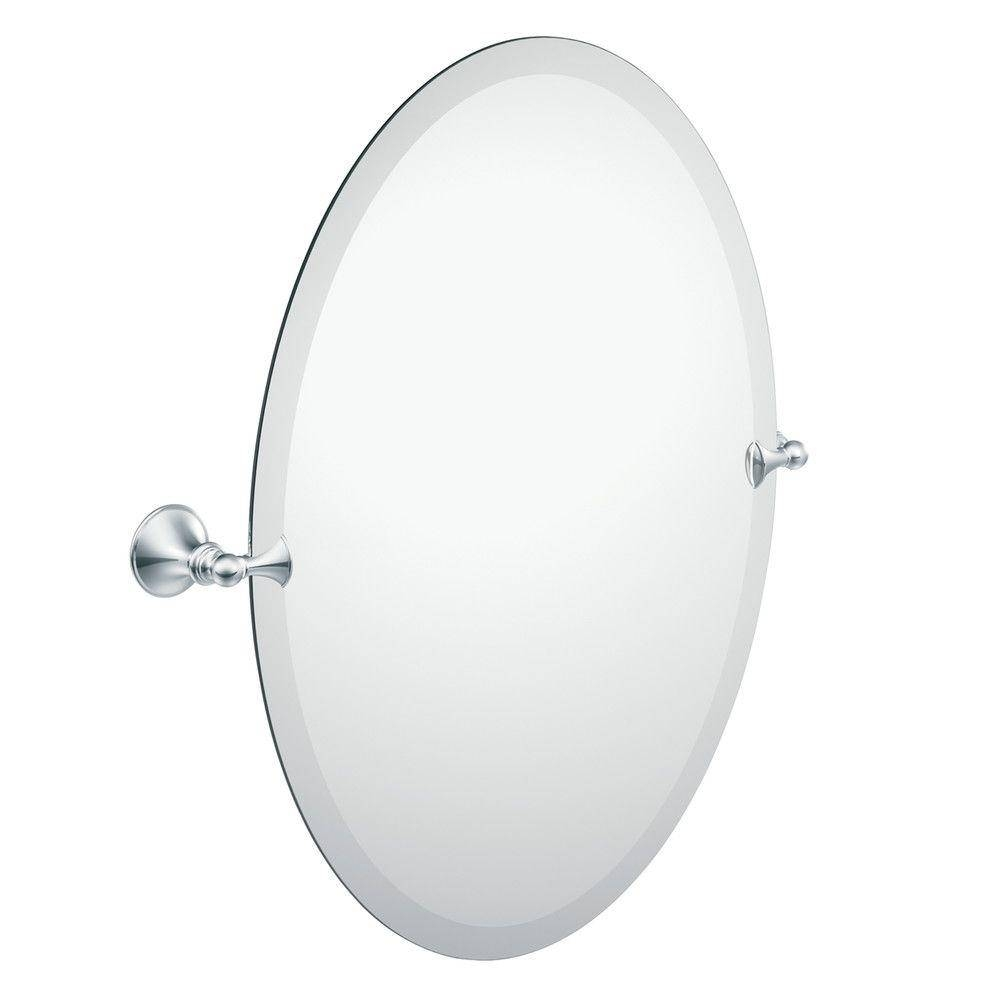 Moen Glenshire 26 In. X 22 In. Frameless Pivoting Wall Mirror In inside Frameless Large Wall Mirrors (Image 20 of 25)