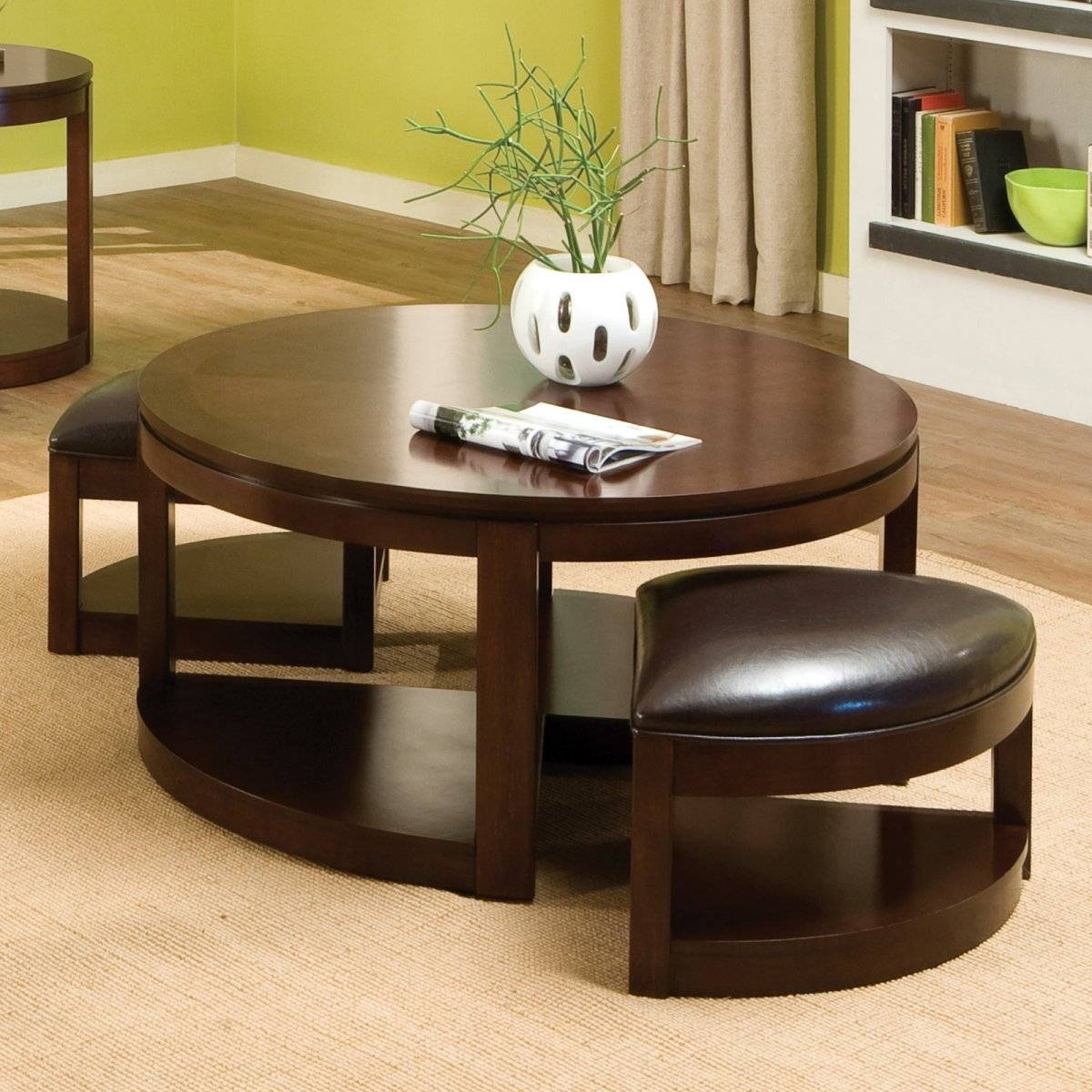 Mohena Wood And Leather Circular Coffee Table Birdsu0027 Tooled In Coffee Tables With Nesting Stools (View 15 of 30)