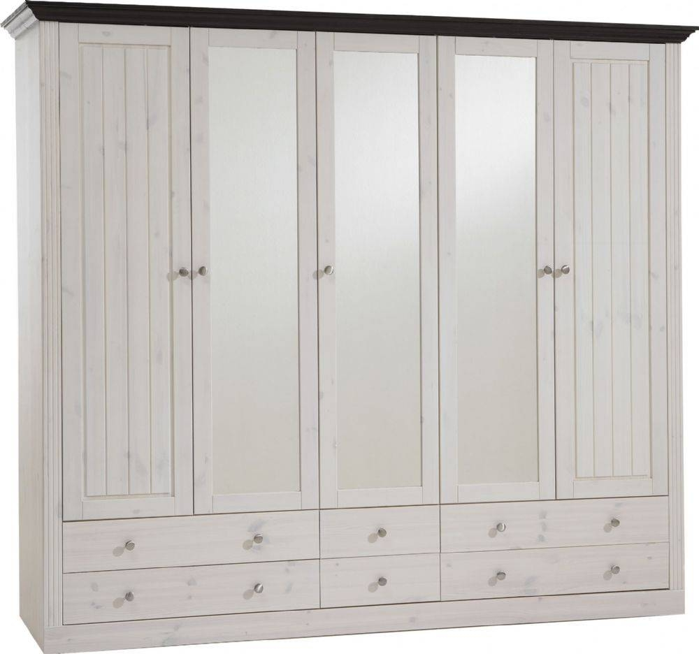 Monaco 2 3 Glazed Door 4 2 Drawer Wardrobe Whitewash Dark Stain Finish With Regard To Whitewash Wardrobes (Photo 2 of 15)