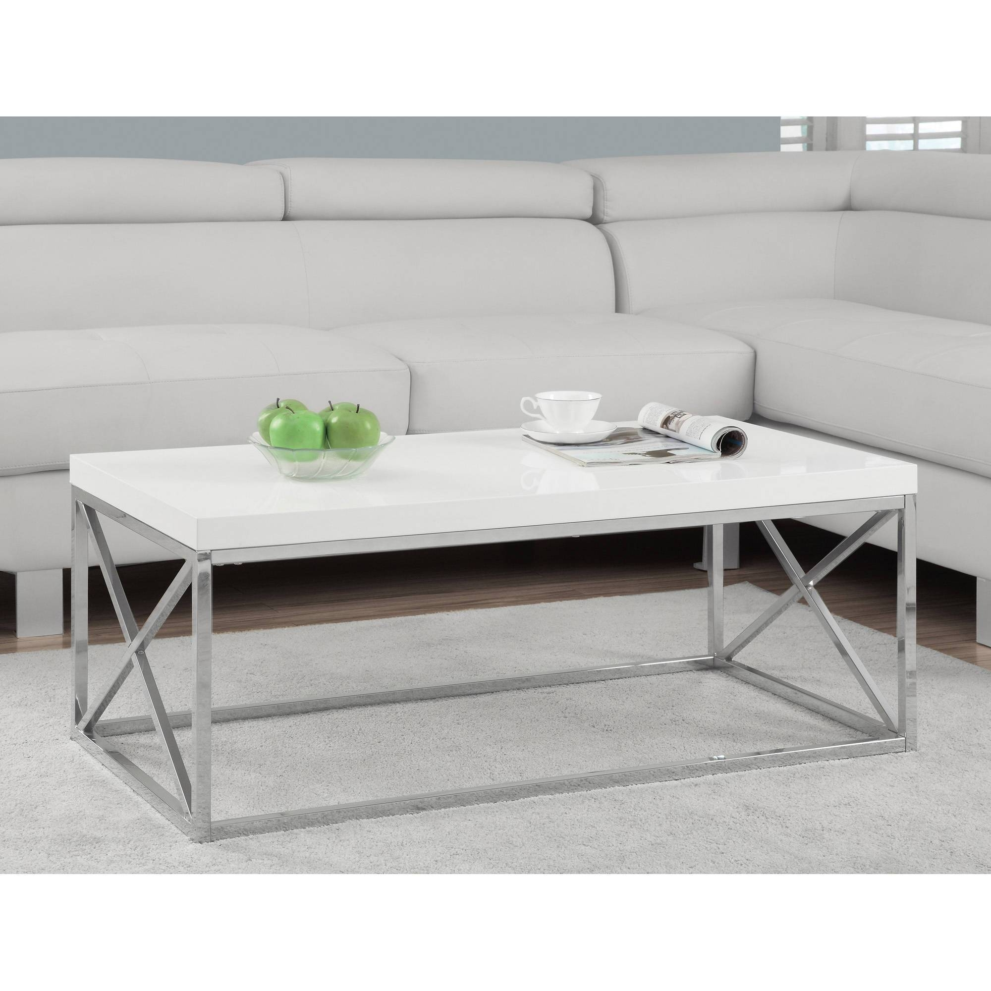 Monarch Coffee Table Glossy White With Chrome Metal - Walmart regarding White and Chrome Coffee Tables (Image 19 of 30)