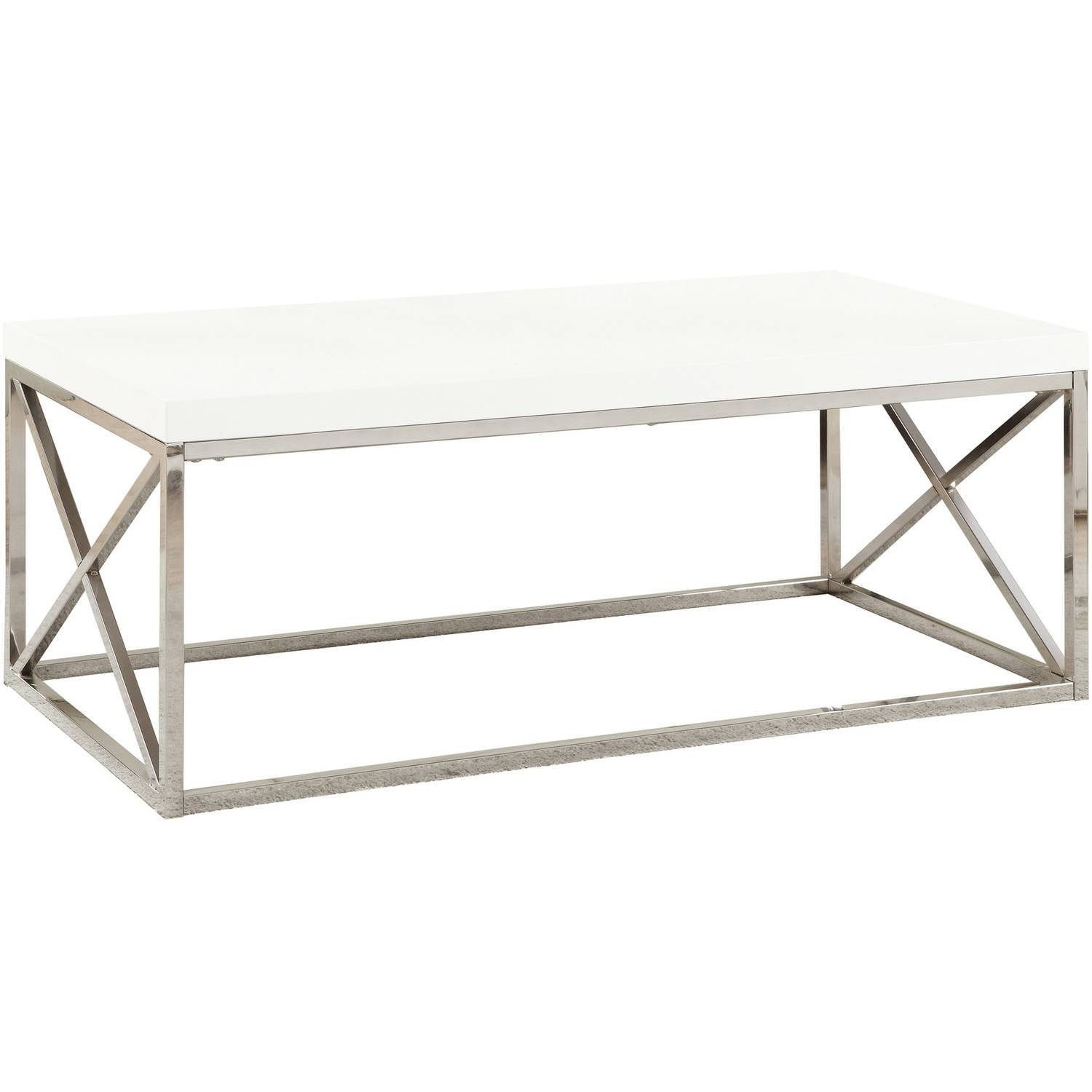 Monarch Coffee Table Glossy White With Chrome Metal - Walmart with regard to White and Chrome Coffee Tables (Image 20 of 30)